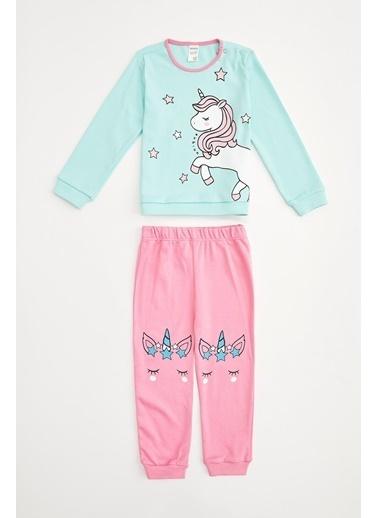 DeFacto Kız Bebek Unicorn Baskılı Pijama Takım Turkuaz
